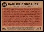 2011 Topps Heritage #396   -  Carlos Gonzalez All-Star Back Thumbnail