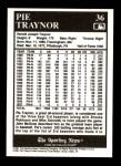 1991 Conlon #36  Pie Traynor  Back Thumbnail