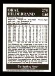 1991 Conlon #278  Oral Hildebrand  Back Thumbnail