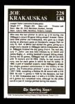1991 Conlon #228   -  Joe Krakauskas Trivia Back Thumbnail