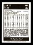 1991 Conlon #319  Jakie May  Back Thumbnail