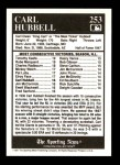 1991 Conlon #253   -  Carl Hubbell All-Time Leaders Back Thumbnail