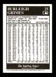 1991 Conlon #25  Burleigh Grimes  Back Thumbnail