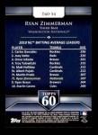 2011 Topps 60 #54 T-60 Ryan Zimmerman  Back Thumbnail