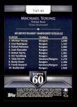 2011 Topps 60 #40 T-60 Michael Young  Back Thumbnail