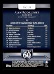 2011 Topps 60 #10 T-60 Alex Rodriguez  Back Thumbnail