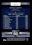 2011 Topps 60 #14 T-60 Barry Larkin  Back Thumbnail