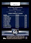 2011 Topps 60 #51 T-60 Walter Johnson  Back Thumbnail