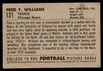 1952 Bowman Small #121  Fred Williams  Back Thumbnail