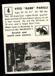 1951 Topps Magic #4  Babe Parilli  Back Thumbnail