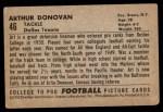 1952 Bowman Small #46  Art Donovan  Back Thumbnail
