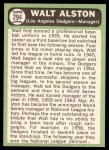 1967 Topps #294  Walter Alston  Back Thumbnail