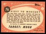 1958 Topps Target Moon #76   Visit to Mercury Back Thumbnail