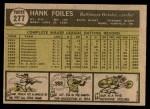 1961 Topps #277  Hank Foiles  Back Thumbnail