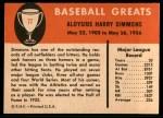 1961 Fleer #77  Al Simmons  Back Thumbnail