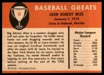 1961 Fleer #63  Johnny Mize  Back Thumbnail
