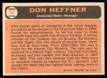 1966 Topps #269  Don Heffner  Back Thumbnail