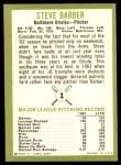 1963 Fleer #1  Steve Barber  Back Thumbnail