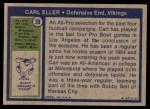 1972 Topps #20  Carl Eller  Back Thumbnail