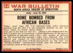 1965 Philadelphia War Bulletin #22   Bullseye! Back Thumbnail