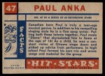 1957 Topps Hit Stars #47  Paul Anka   Back Thumbnail