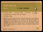 1961 Fleer #25  Don Gillis  Back Thumbnail