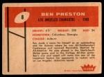 1960 Fleer #8  Ben Preston  Back Thumbnail
