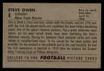 1952 Bowman Large #4  Steve Owen  Back Thumbnail