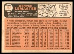 1966 Topps #252  Denver Lemaster  Back Thumbnail