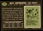 1969 Topps #111  Roy Jefferson  Back Thumbnail