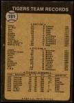 1973 Topps #191   Tigers Team Back Thumbnail