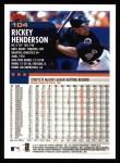 2000 Topps #104  Rickey Henderson  Back Thumbnail