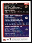 2000 Topps #445   -  Tim Raines Jr. / Gary Matthews Jr. / Garry Maddox Prospects Back Thumbnail