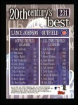 2000 Topps #231   -  Lance Johnson 20th Century's Best - Triples Leaders Back Thumbnail