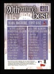 2000 Topps #469   -  Mark McGwire 20th Century's Best Slugging Percentage Leaders Back Thumbnail
