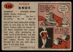 1957 Topps #149  Ronnie Knox  Back Thumbnail