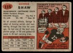 1957 Topps #115  George Shaw  Back Thumbnail