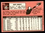1969 Topps #289  Bart Shirley  Back Thumbnail