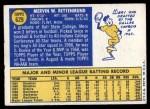 1970 Topps #629  Merv Rettenmund  Back Thumbnail