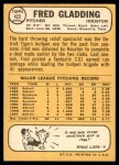 1968 Topps #423  Fred Gladding  Back Thumbnail