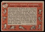 1958 Topps #386   -  Frank Robinson / Ed Bailey / Birdie Tebbets Birdie's Young Sluggers   Back Thumbnail