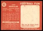 1958 Topps #45  Chet Hanulak  Back Thumbnail