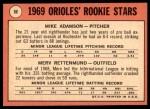 1969 Topps #66   -  Merv Rettenmund / Mike Adamson Orioles Rookies Back Thumbnail