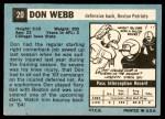 1964 Topps #20  Don Webb  Back Thumbnail