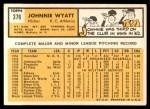 1963 Topps #376 xBRK John Wyatt  Back Thumbnail