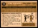 1960 Topps #14  Mudcat Grant  Back Thumbnail