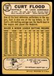 1968 Topps #180  Curt Flood  Back Thumbnail