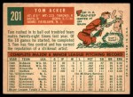 1959 Topps #201  Tom Acker  Back Thumbnail