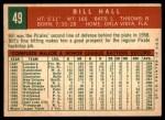1959 Topps #49  Bill Hall  Back Thumbnail