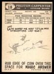 1959 Topps #18  Preston Carpenter  Back Thumbnail